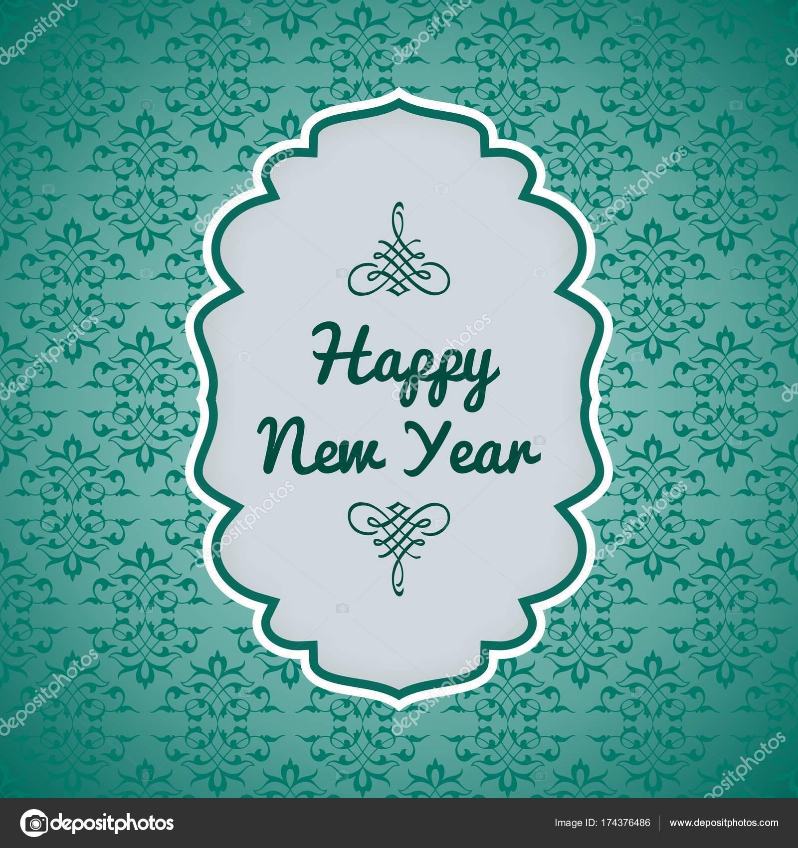 Frohes neues Jahr wünschen Karte mit eleganten Teal Muster ...