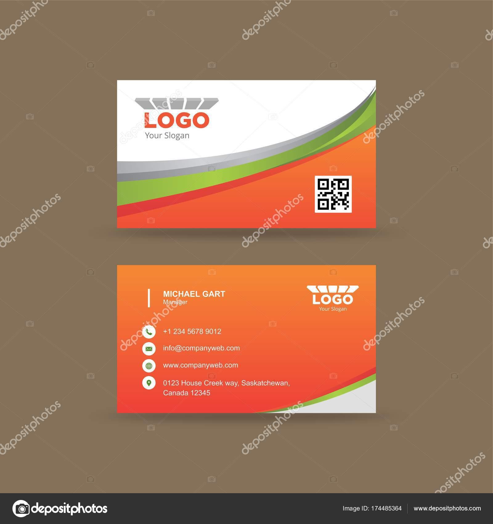 Carte De Visite Avec Orange Vert Et Gris Fonce Courbe Frontiere Typographie Blanche Vecteur Par