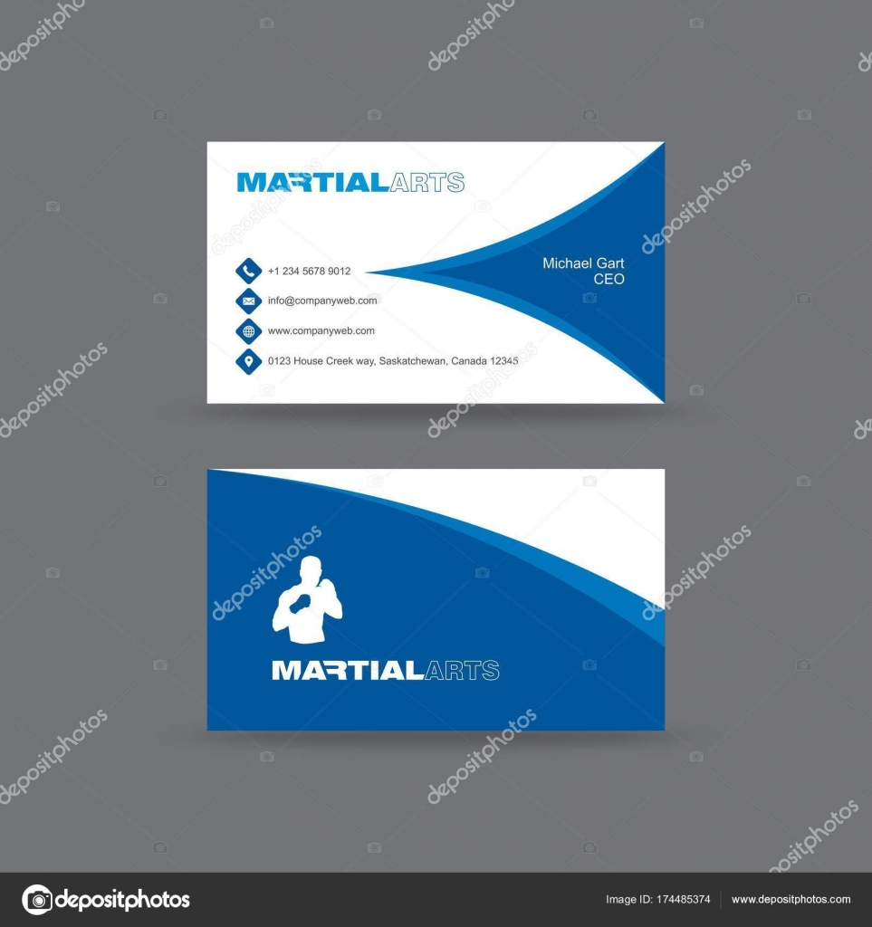 Blue and white martial arts business card stock vector dxinerz business card having half cut blue diamond shape in front and blue curved border in back with white vector by dxinerz colourmoves