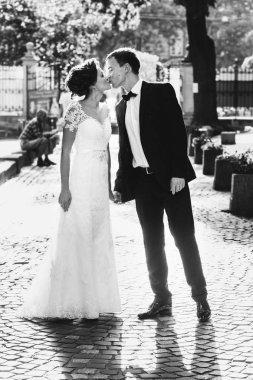 Newlyweds on a walk near old building
