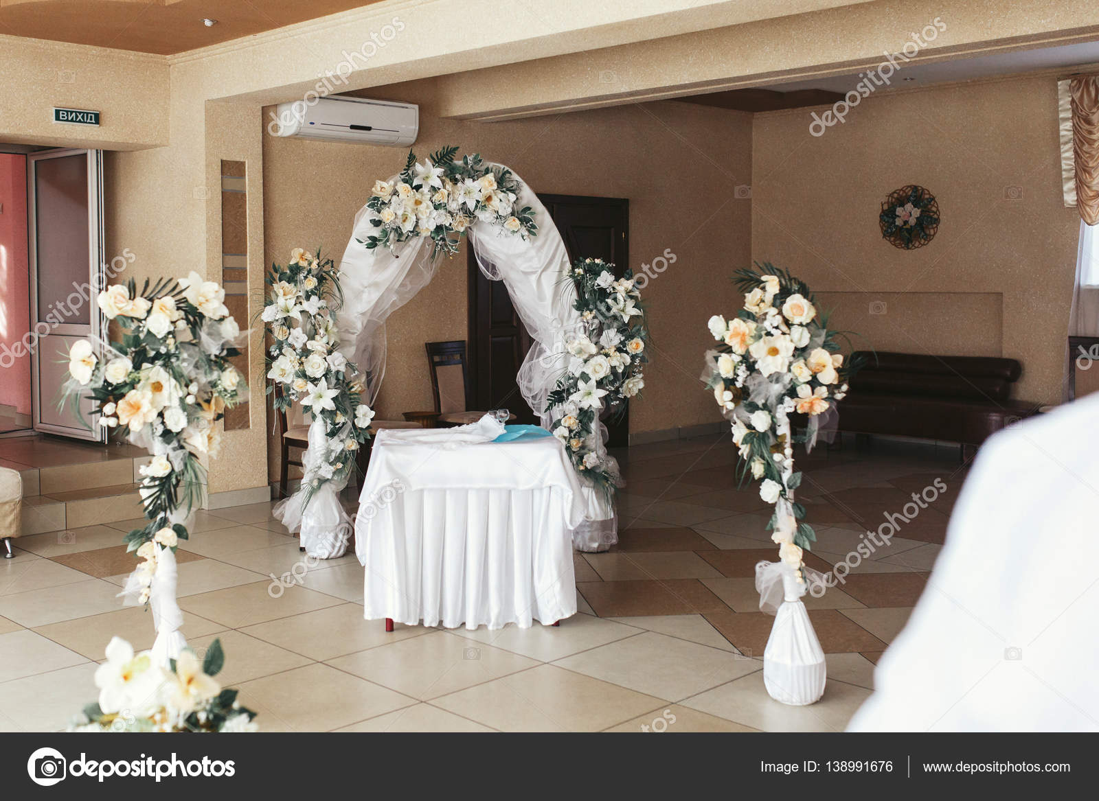 Wedding altar made of veil and roses stock photo olexiysyrotkin wedding altar made of veil and roses stock photo junglespirit Gallery