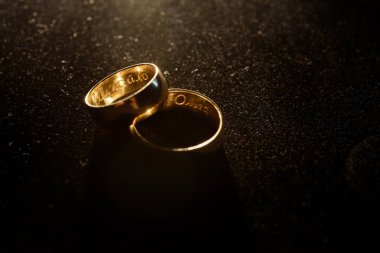 Wedding rings with names inside
