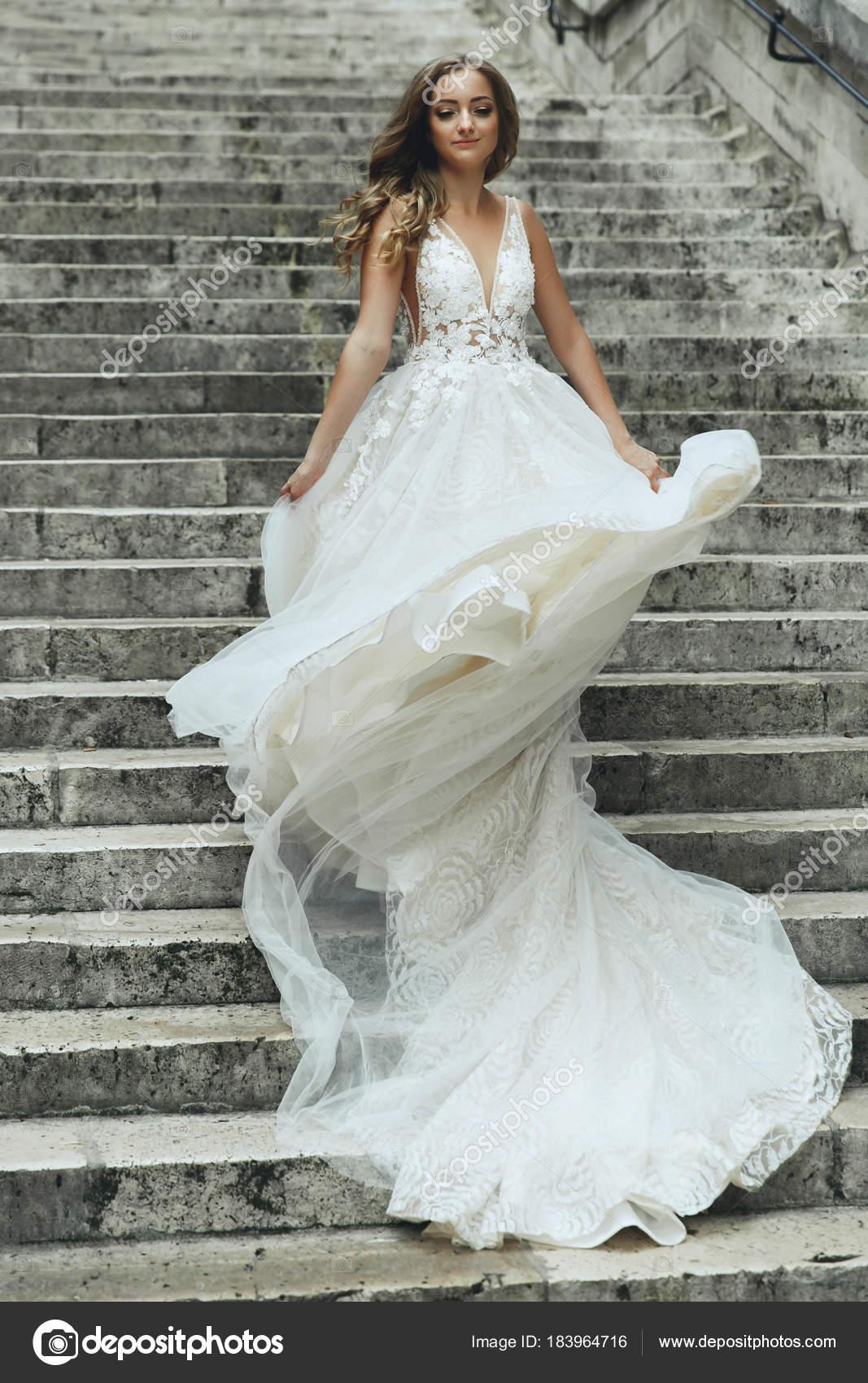 Blonde Bride Luxury Wedding Dress Whirls Footsteps Somewhere Paris ...