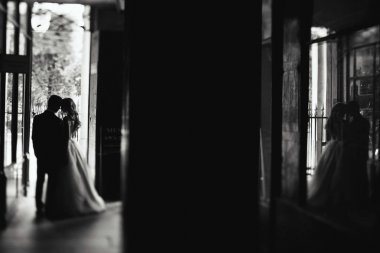 Silhouettes of a wedding couple standing in the doors of a cafe somewhere in Paris