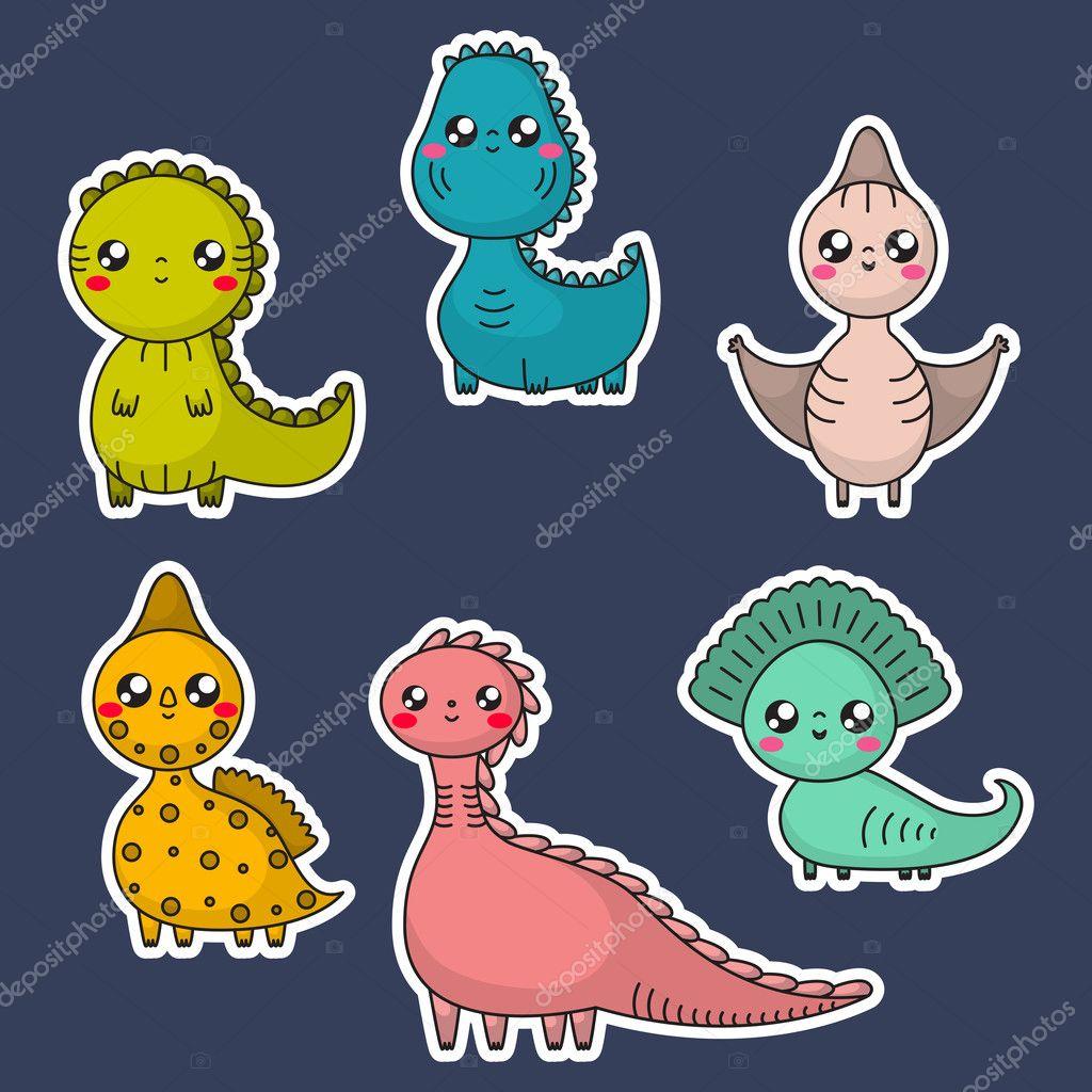 Juego De Dinosaurios De Kawaii Personajes De Dibujos Animados