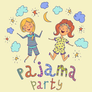 Pajama party. Funny kids and hand drawn lettering with stars, crescent and clouds. Cartoon characters. Vector illustration