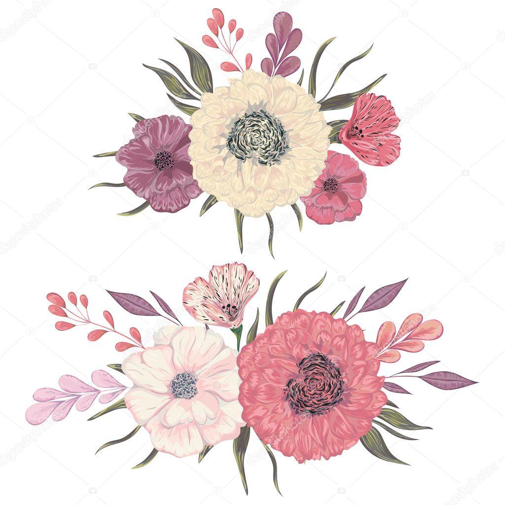 Elementos De Diseño Floral Decorativa Colección De