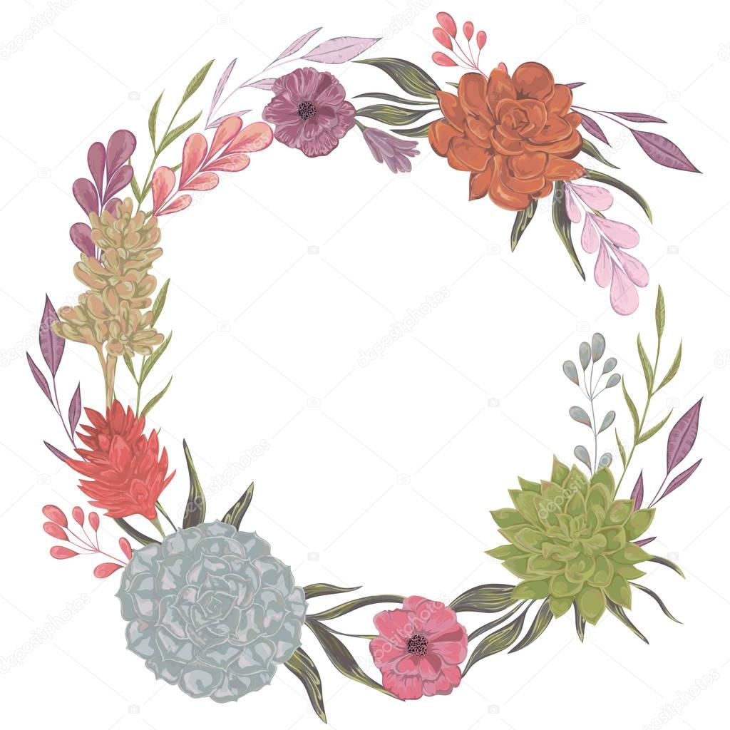 Collection decorative floral design elements for wedding invitations and birthday cards. Succulents, flowers and leaves. Isolated elements. Vintage hand drawn vector illustration in watercolor style.