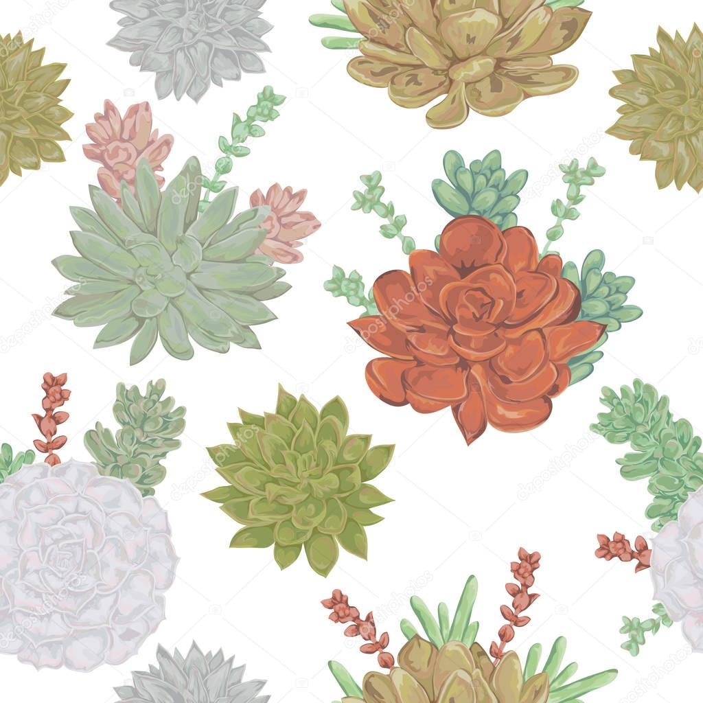 Seamless pattern with succulents set. Collection decorative floral design elements for wedding invitations and birthday cards. Vintage hand drawn vector illustration in watercolor style.