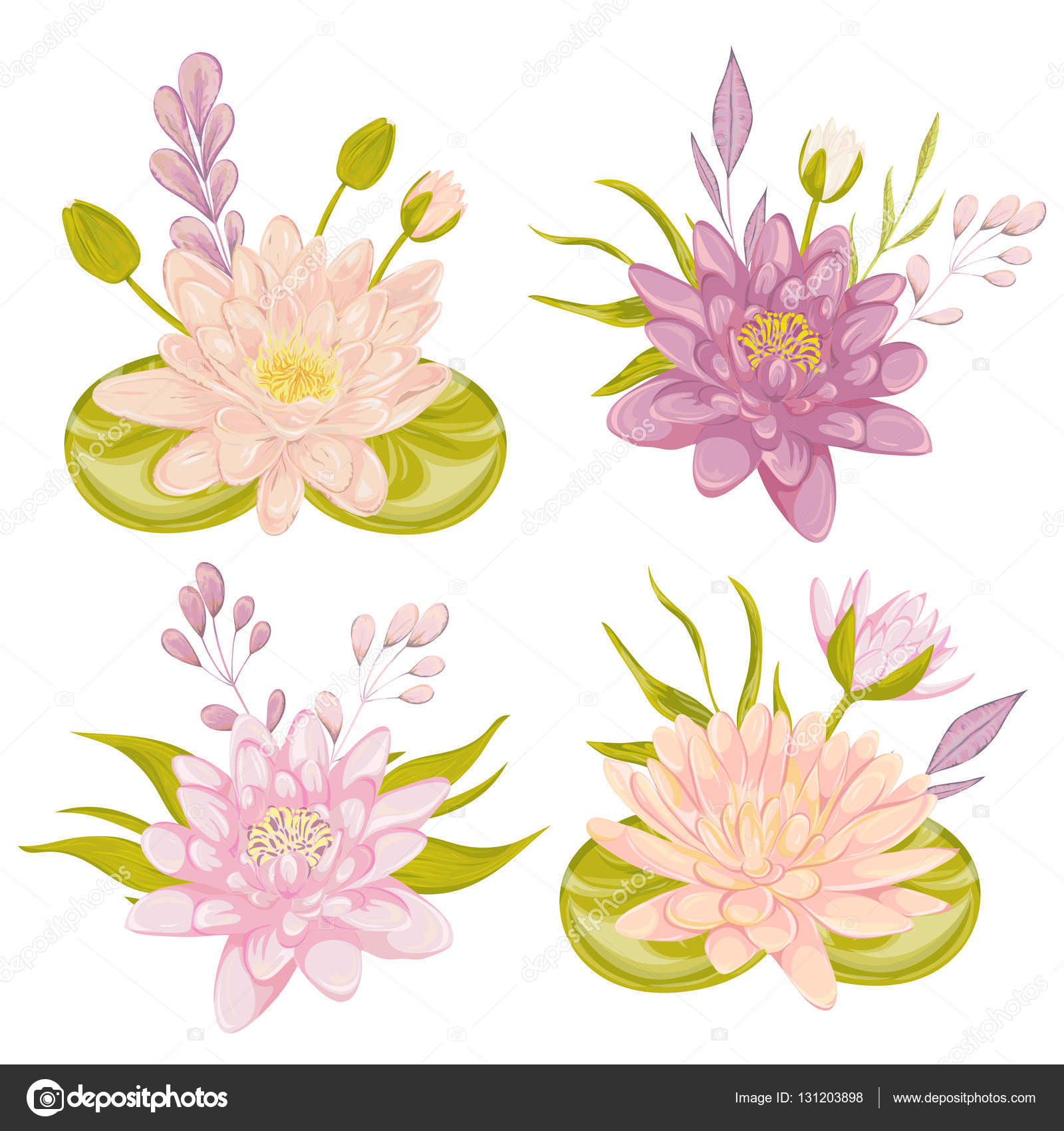 Water lily set collection decorative floral design elements for collection decorative floral design elements for wedding invitations and birthday cards flowers leaves and buds vintage hand drawn vector illustration in izmirmasajfo Choice Image