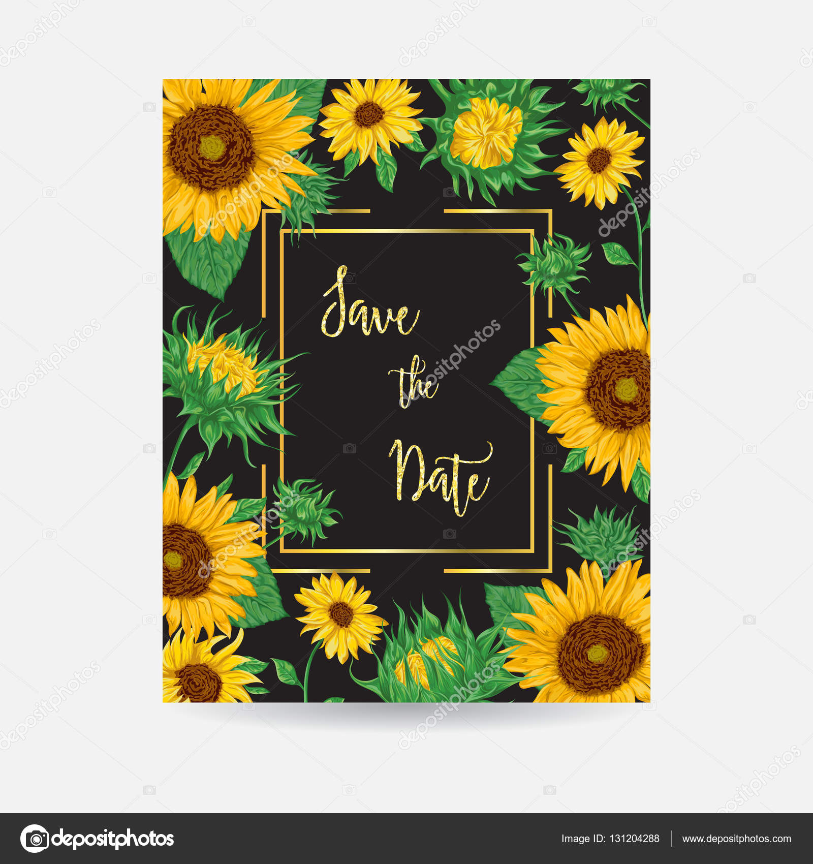 Frame with sunflowers. Collection decorative floral design elements ...