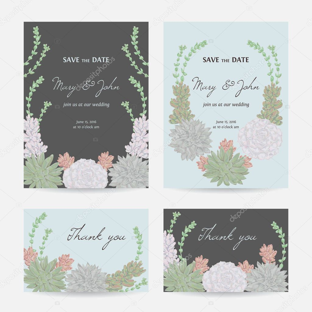 Wedding invitation with succulents. Save the date cards with collection decorative floral design elements. Vintage hand drawn vector illustration in watercolor style.