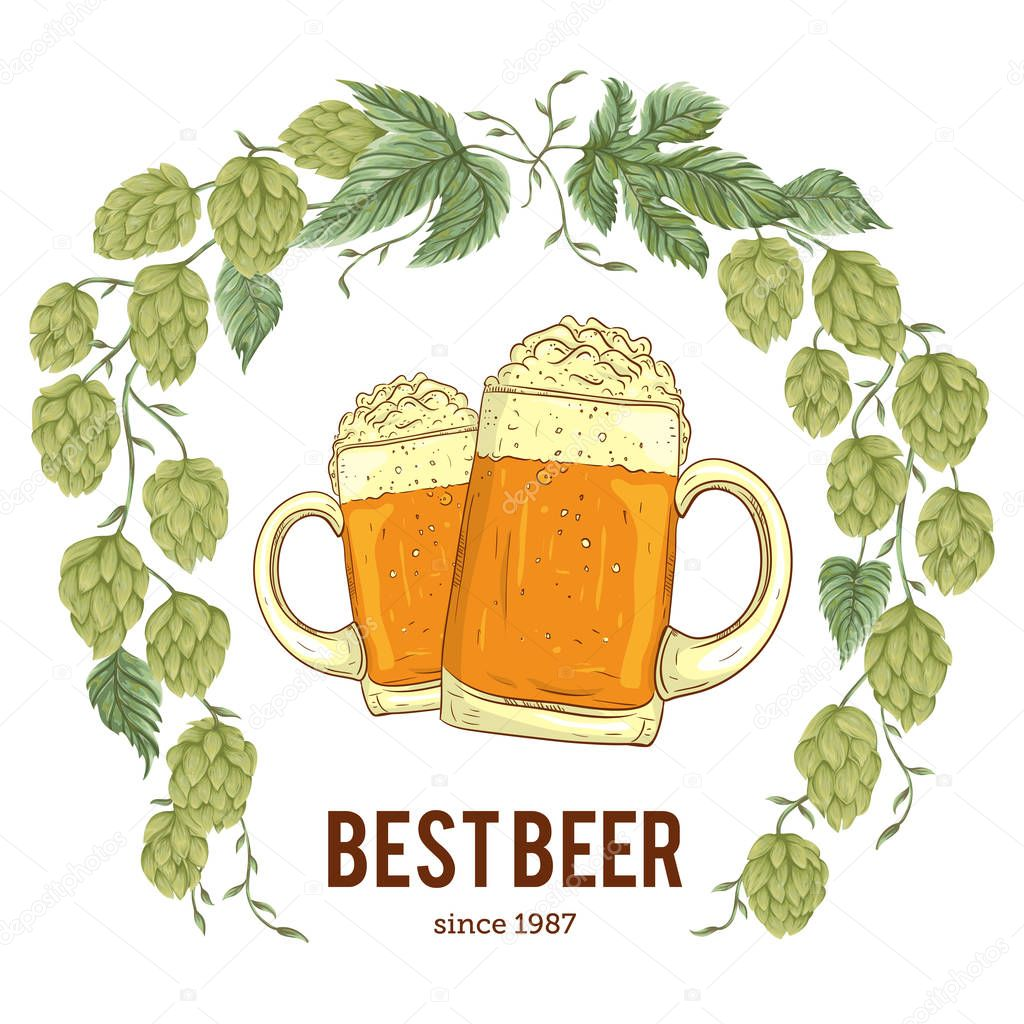 Wreath with hops and glasses of beer. Floral composition with hop cones, leaves and branches. Isolated elements. Vintage hand drawn illustration in watercolor style.