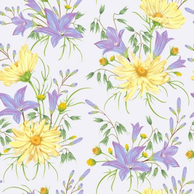 Seamless pattern with yellow chamomile flowers, blue bluebells flowers and oat. Rustic floral background. Vintage vector botanical illustration in watercolor style. stock vector