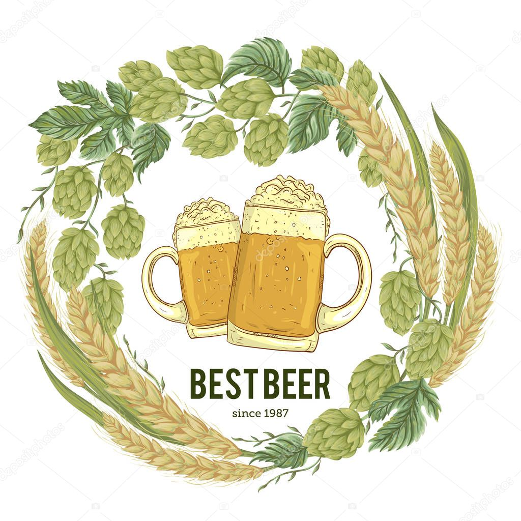 Wreath with hops, wheat and glasses of beer. Floral composition with cones, leaves and branches. Isolated elements. Vintage hand drawn illustration in watercolor style.