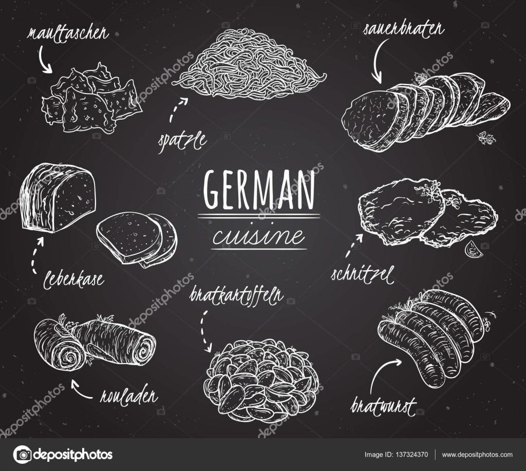 Cocina alemana. Colección de deliciosa comida estilo de arte de ...