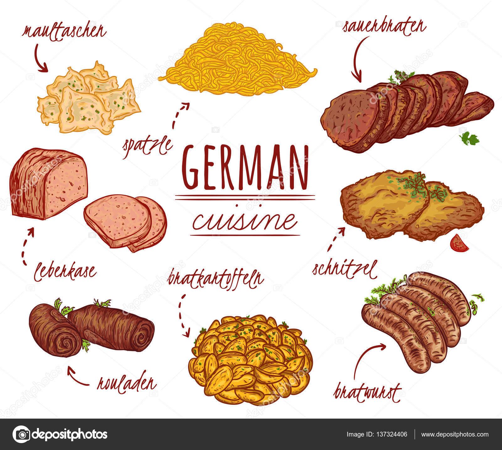 Cocina alemana. Colección de comida deliciosa. Elementos aislados ...