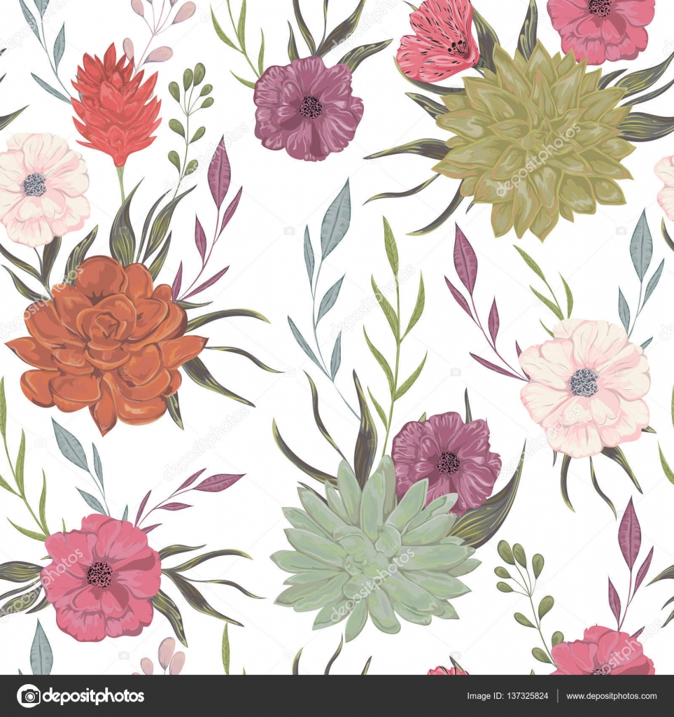 Seamless Pattern With Succulents Poppy And Floral Elements