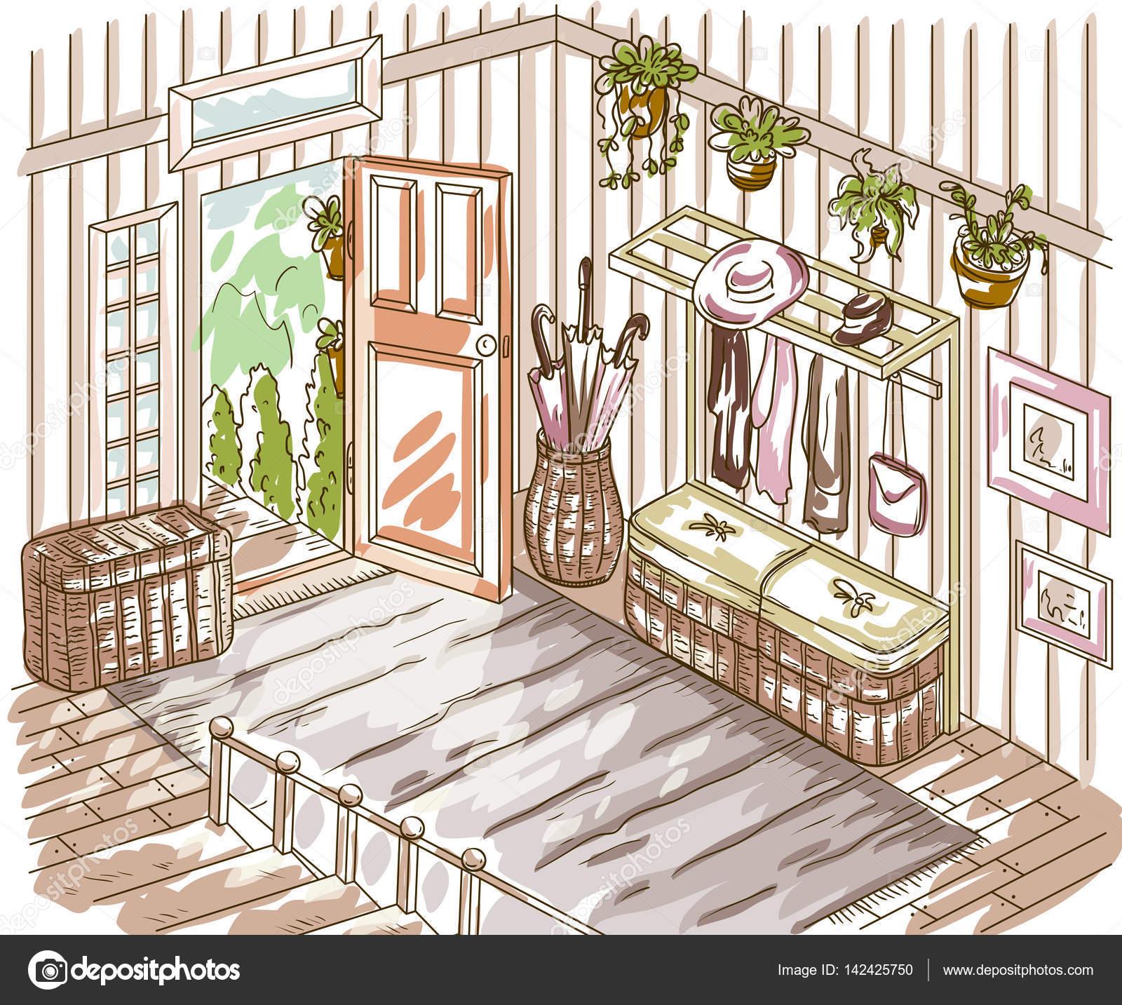 Interior del vestíbulo de entrada con escalera, muebles de ...