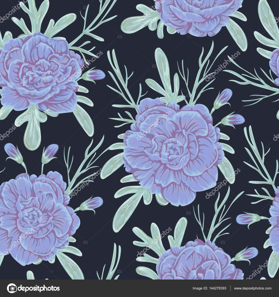 Seamless Pattern With Blue Geranium Flowers And Sagebrush Rustic Floral Background Vintage Vector Botanical