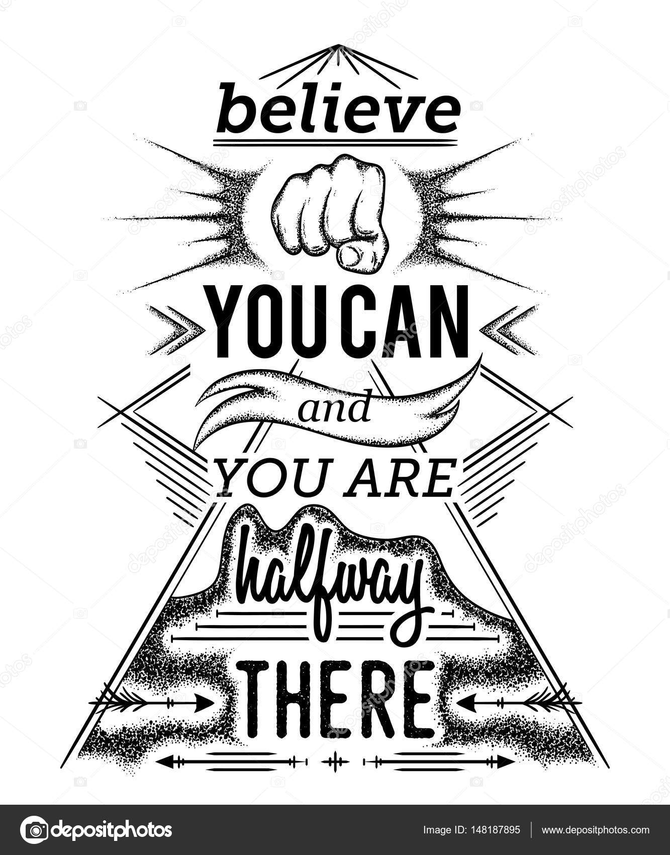 Typography Poster With Hand Drawn Elements Inspirational Quote