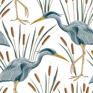 Seamless pattern with heron bird and bulrush. Swamp flora and fauna. Vintage hand drawn vector illustration in watercolor style