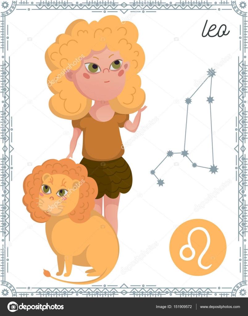 Signe Du Zodiaque Leo Personnage De Dessin Animé Drôle