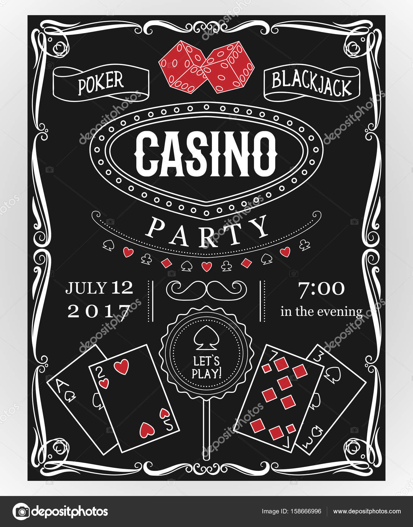 Casino party invitation on chalkboard with decorative elements ...