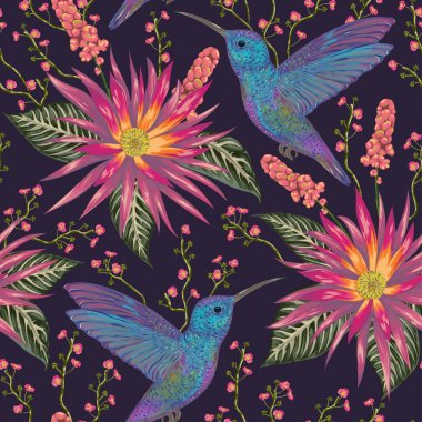 Seamless pattern with hummingbird, tropical flowers,berries and leaves. Exotic flora and fauna. Vintage hand drawn vector illustration in watercolor style
