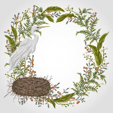 Wreath with heron bird, nest and swamp plants. Marsh flora and fauna. Isolated elements Vintage hand drawn vector illustration in watercolor style