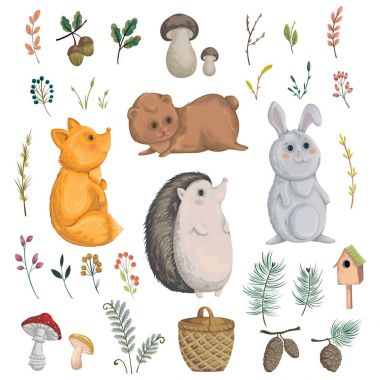 Collection of forest animals, mushroom, plant, berry, cones. Decorative elements in watercolor style for greeting card, invitation, baby shower party. Cartoon characters. Vector illustration. stock vector
