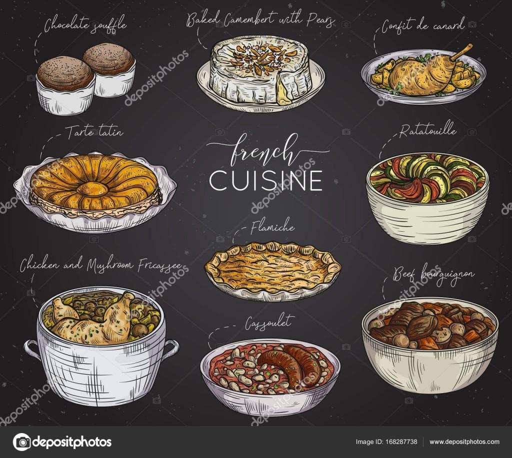Cocina francesa colecci n de comida deliciosa en pizarra for Cocina francesa