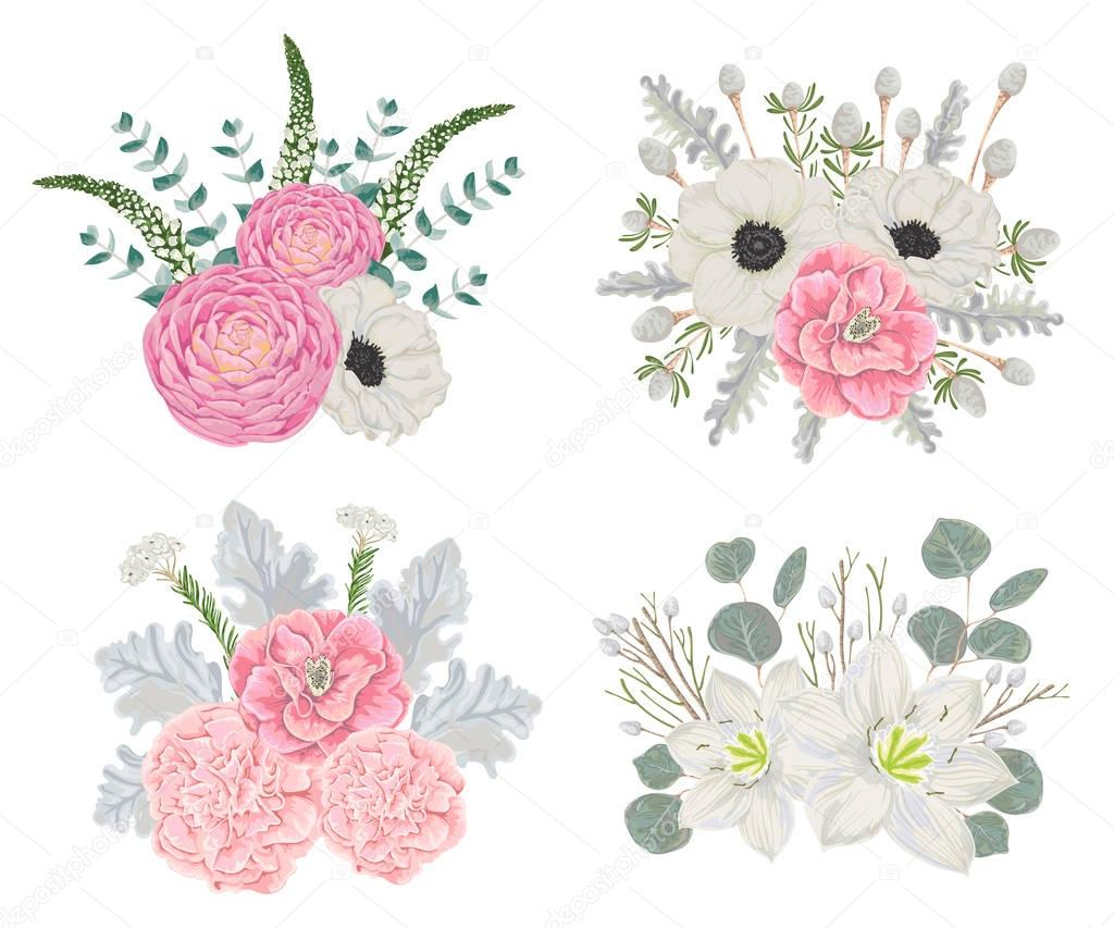 Decorative holiday bouquets set with flowers, leaves and branches. Vintage winter floral elements. Hand drawn vector illustration in watercolor style