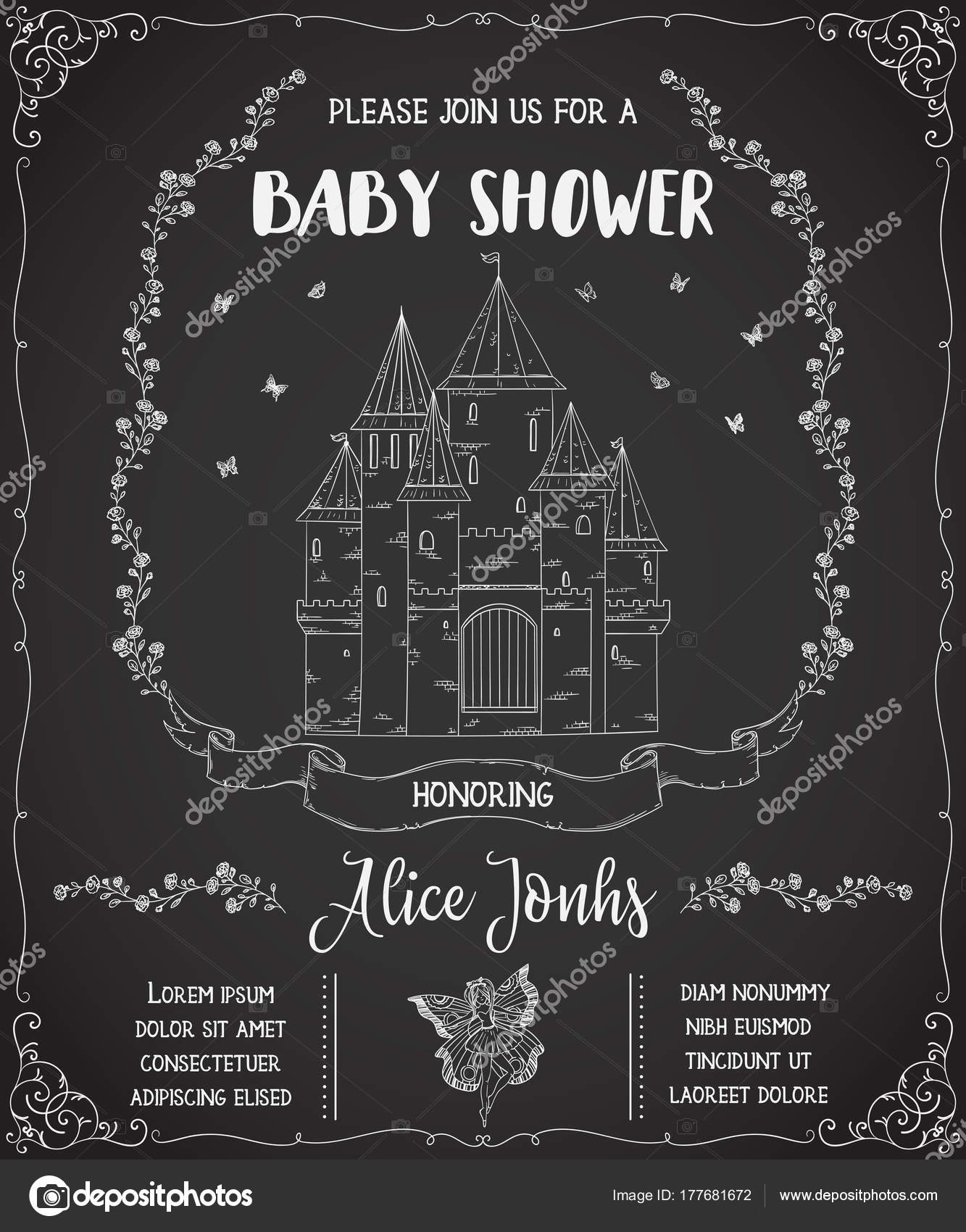 Baby Shower Invitation Castle Fairy Roses Butterflies Fairy Tale ...