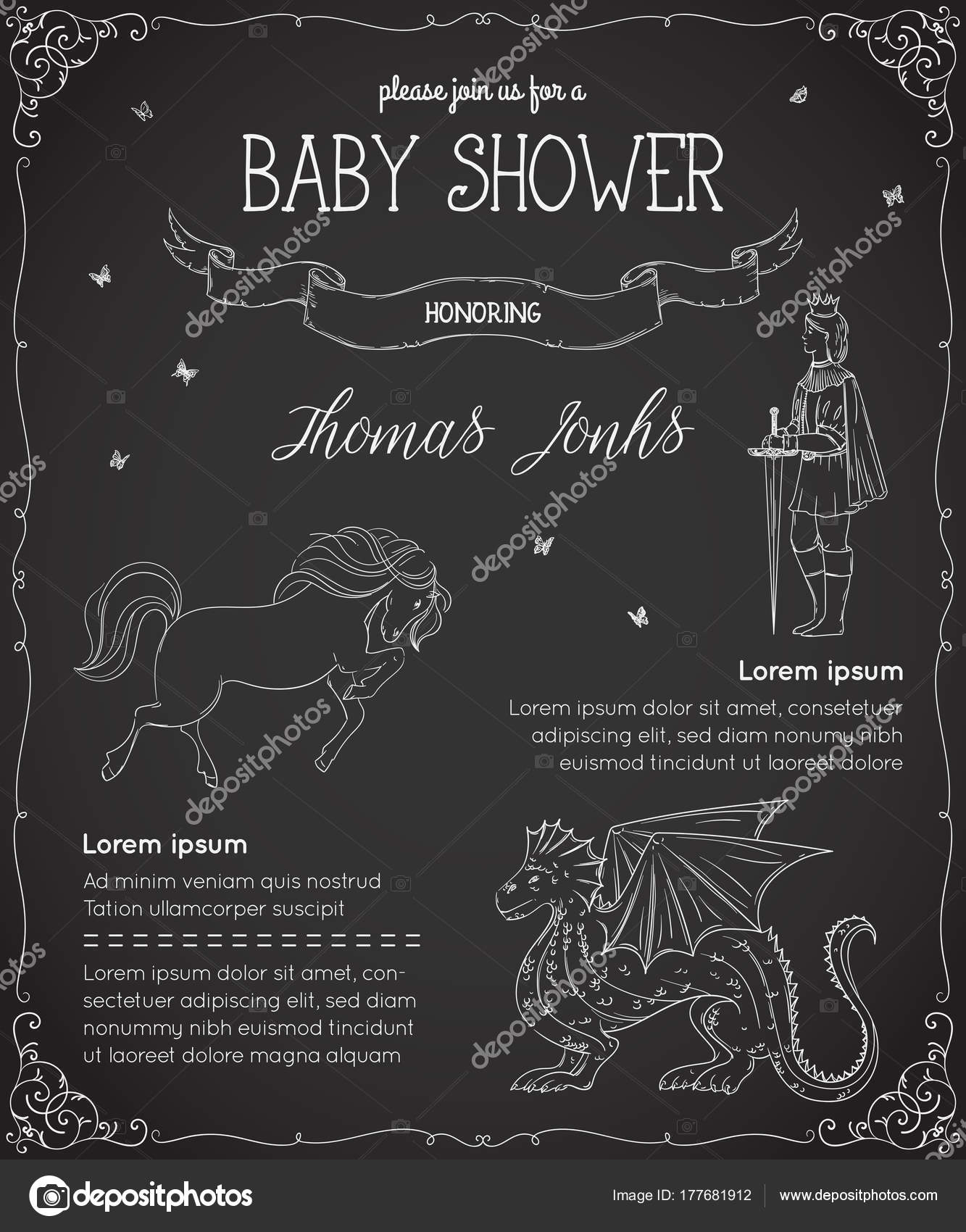 Baby Shower Invitation Prince Dragon Horse Butterflies Fairy Tale ...
