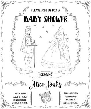 Baby shower invitation with prince, princess, fairy, roses and butterflies. Fairy tale theme. Vintage vector illustration