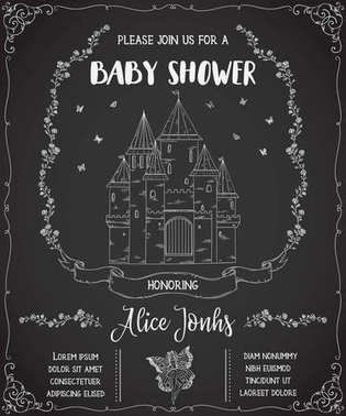 Baby shower invitation with castle, fairy, roses and butterflies. Fairy tale theme on chalkboard background. Vintage vector illustration