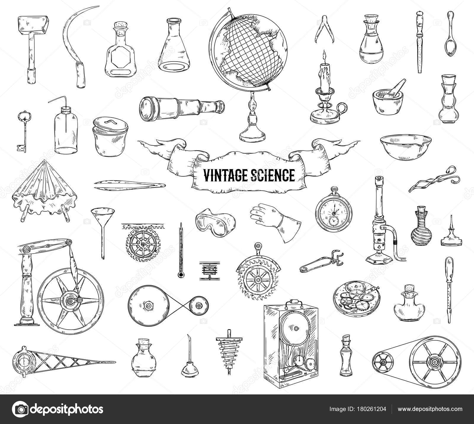 vintage science objects set ste unk style scientific equipment  vintage science objects set ste unk style scientific equipment physics chemistry stock vector