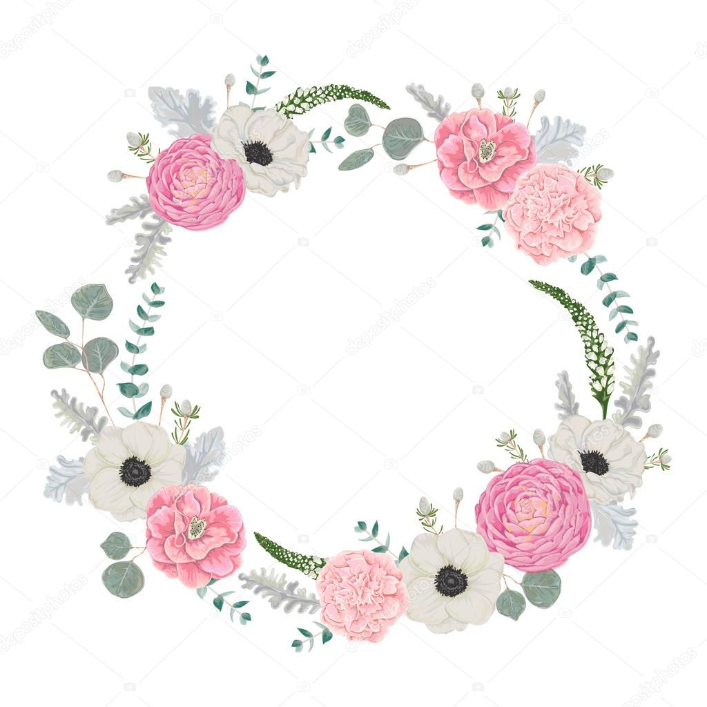 Decorative Holiday Wreath Set With Flowers Leaves And Branches Vintage Floral Elements Vector Illustration In Watercolor Style Premium Vector In Adobe Illustrator Ai Ai Format Encapsulated Postscript Eps Eps Format