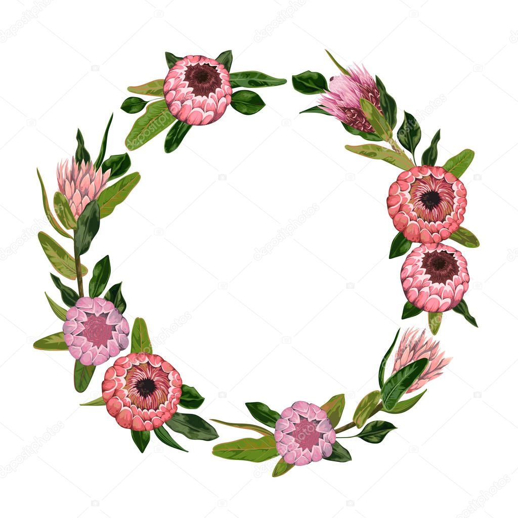 Decorative Holiday Wreath With Protea Flowers And Leaves Vintage Floral Elements Vector Illustration In Watercolor Style Premium Vector In Adobe Illustrator Ai Ai Format Encapsulated Postscript Eps Eps Format