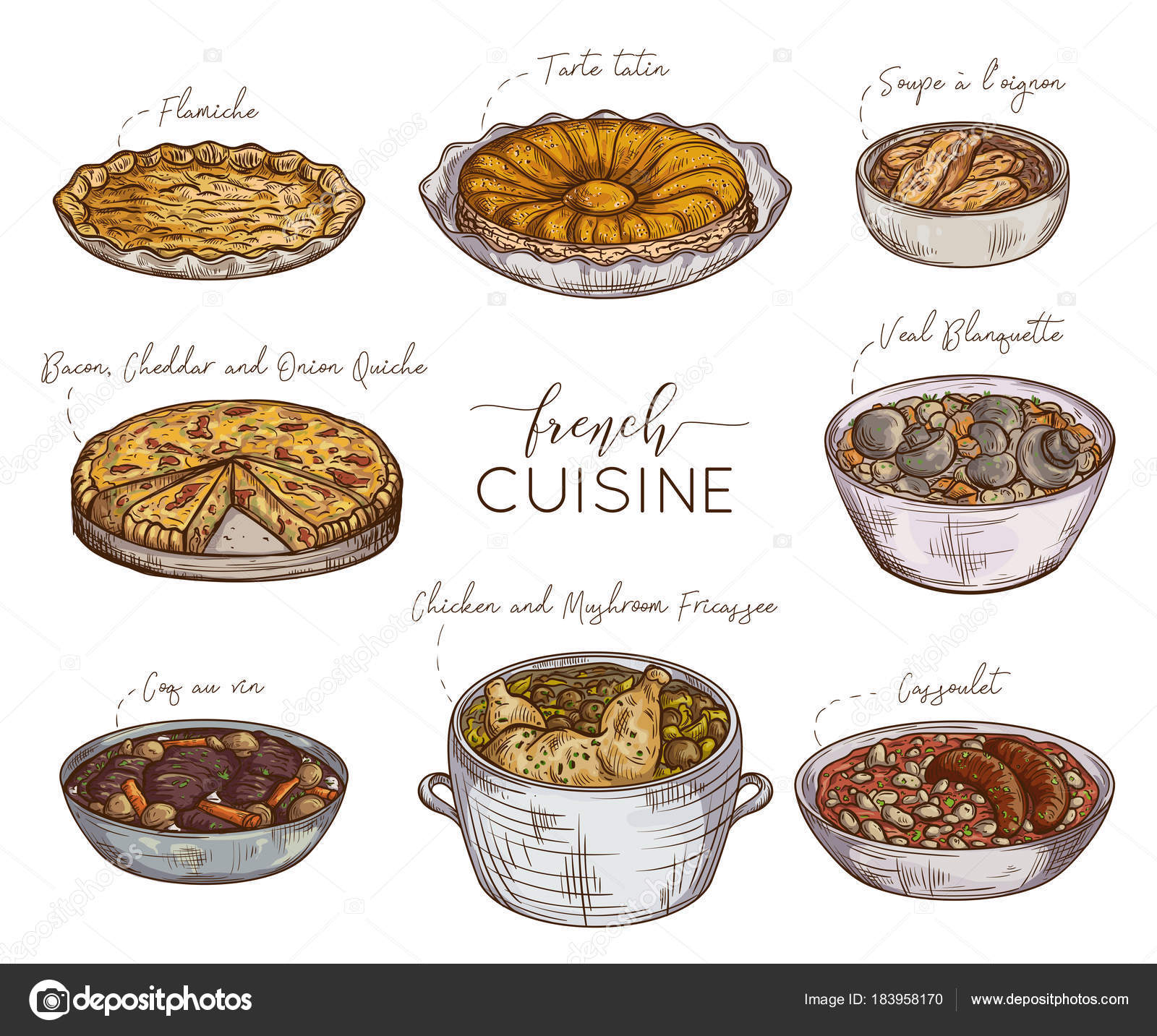 French Cuisine Collection Delicious Food Isolated Elements Concept