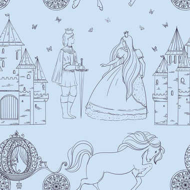 Seamless pattern with prince, princess, castle, carriage with horse and butterflies. Fairy tale theme. Isolated objects. Vintage vector illustration