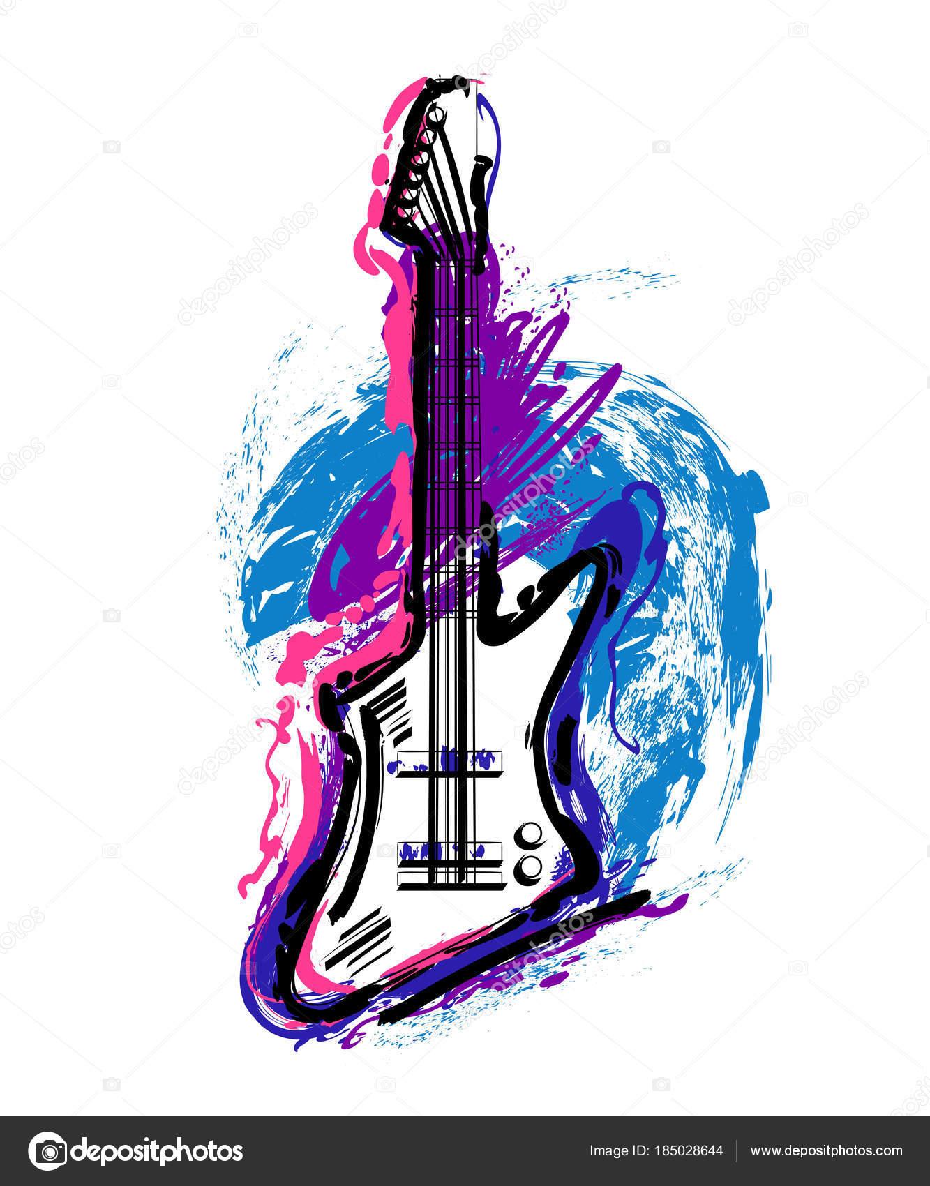 Guitarra Eléctrica Mano Dibuja Arte Estilo Grunge Vintage Diseño ...