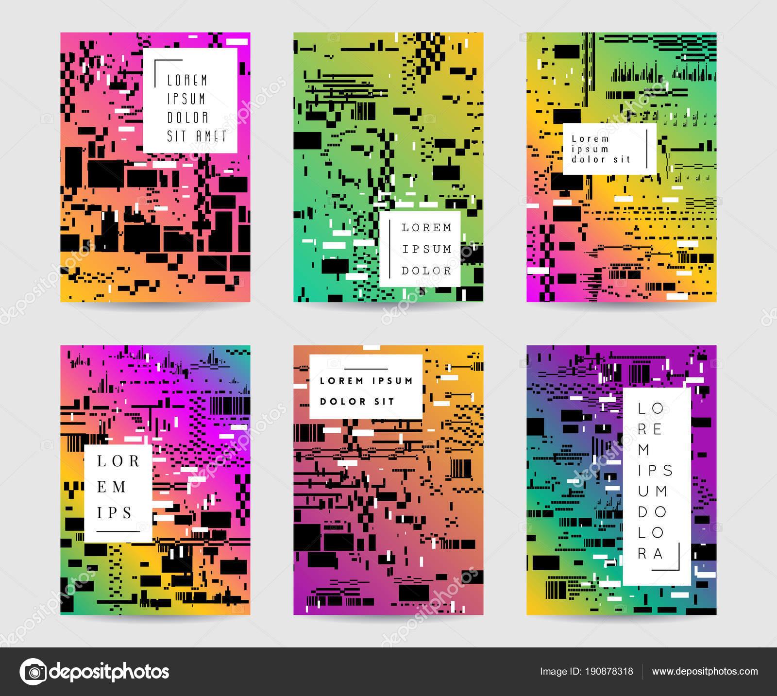 Glitch Horizons Ensemble Dessin Abstrait Coloré Avec Bruit