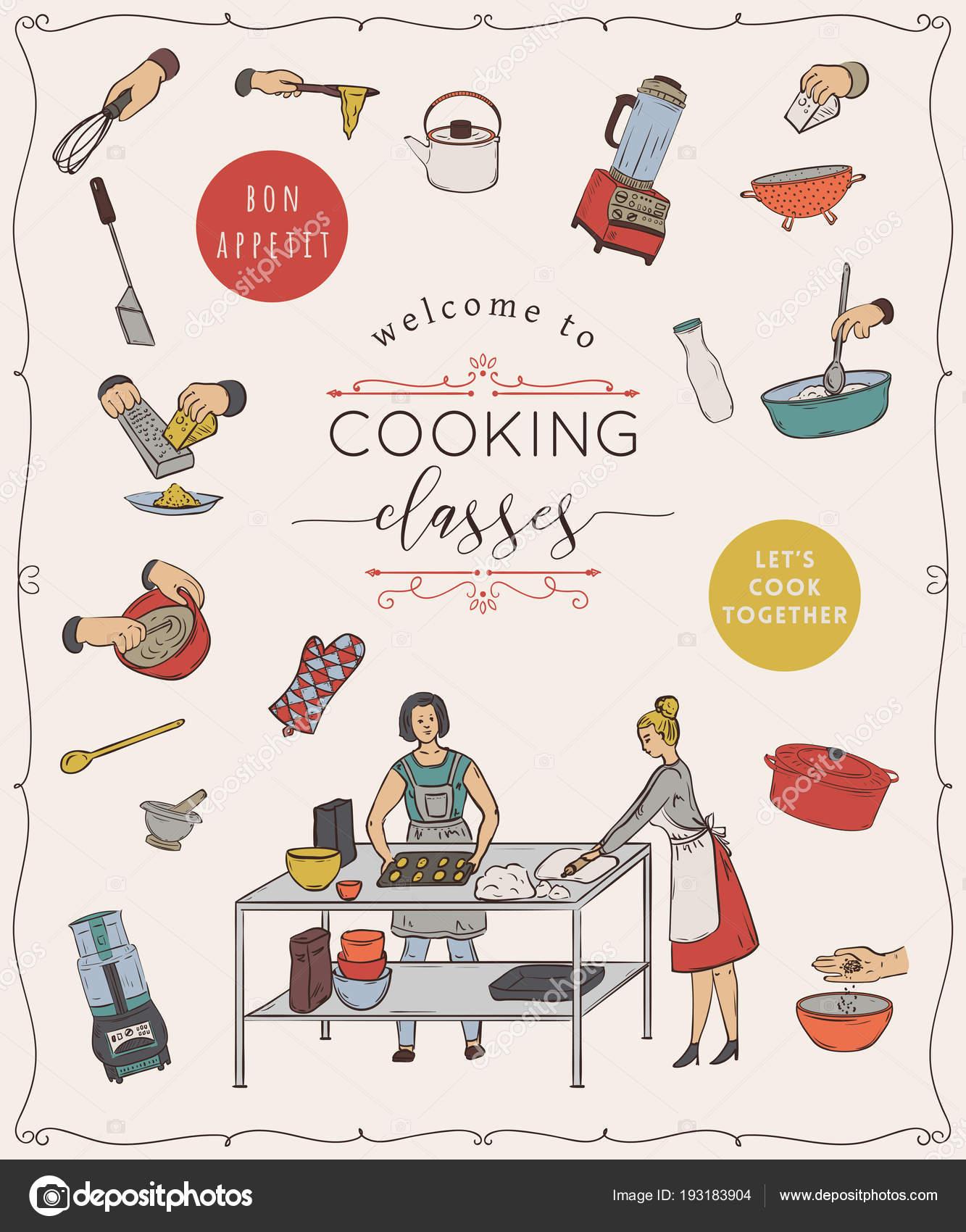 Clases Cocina Plantilla Diseño Con Personas Preparando Comidas ...