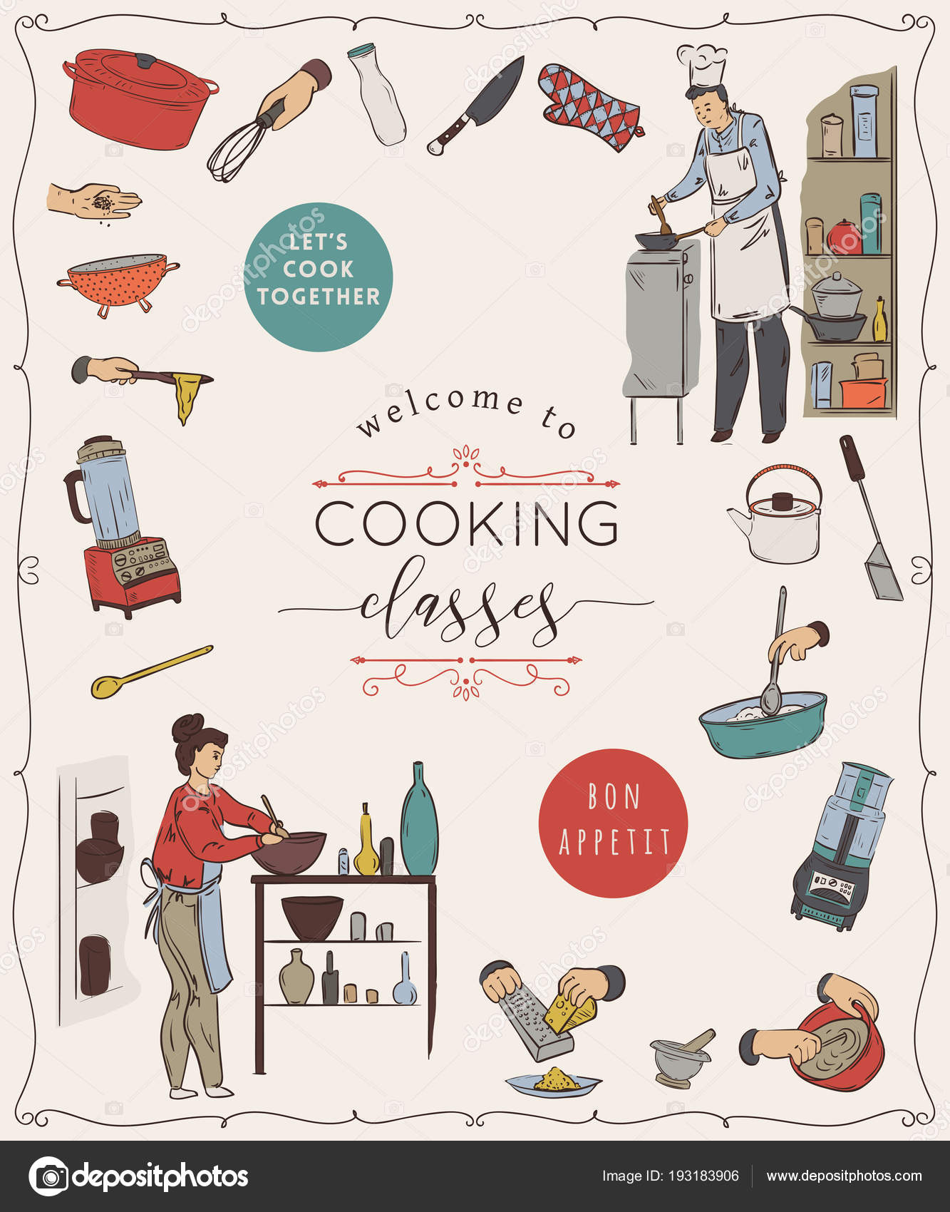 Cooking Classes Design Template People Preparing Meals Kitchen ...