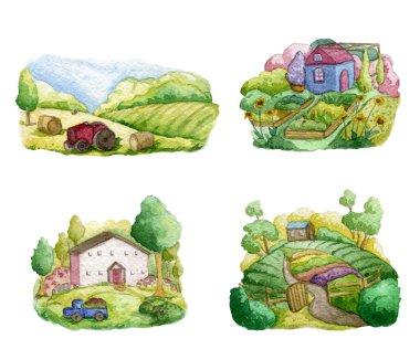 """Картина, постер, плакат, фотообои """"старые фермы и сельские пейзажи. поля, дома, сады, деревья, грузовик, трактор. органическая ферма, местная концепция дизайна продуктов питания. рисунок акварелью постеры картины фото черно-белые"""", артикул 365796096"""