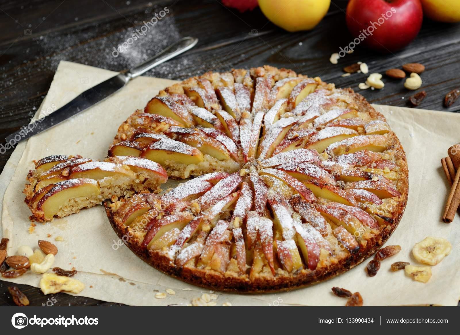 Susse Traditionelle Hausgemachte Deutsche Apfelkuchen Kuchen Mit