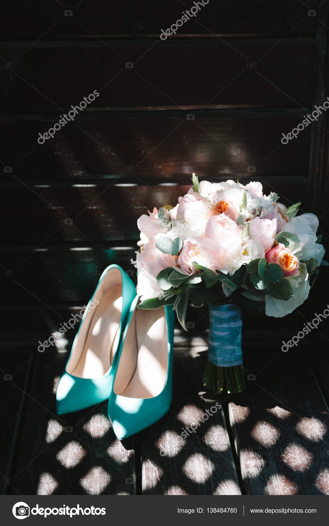 Bridal Bouquet Of Pink Peonies And Mint Tape High Heels Shoes On