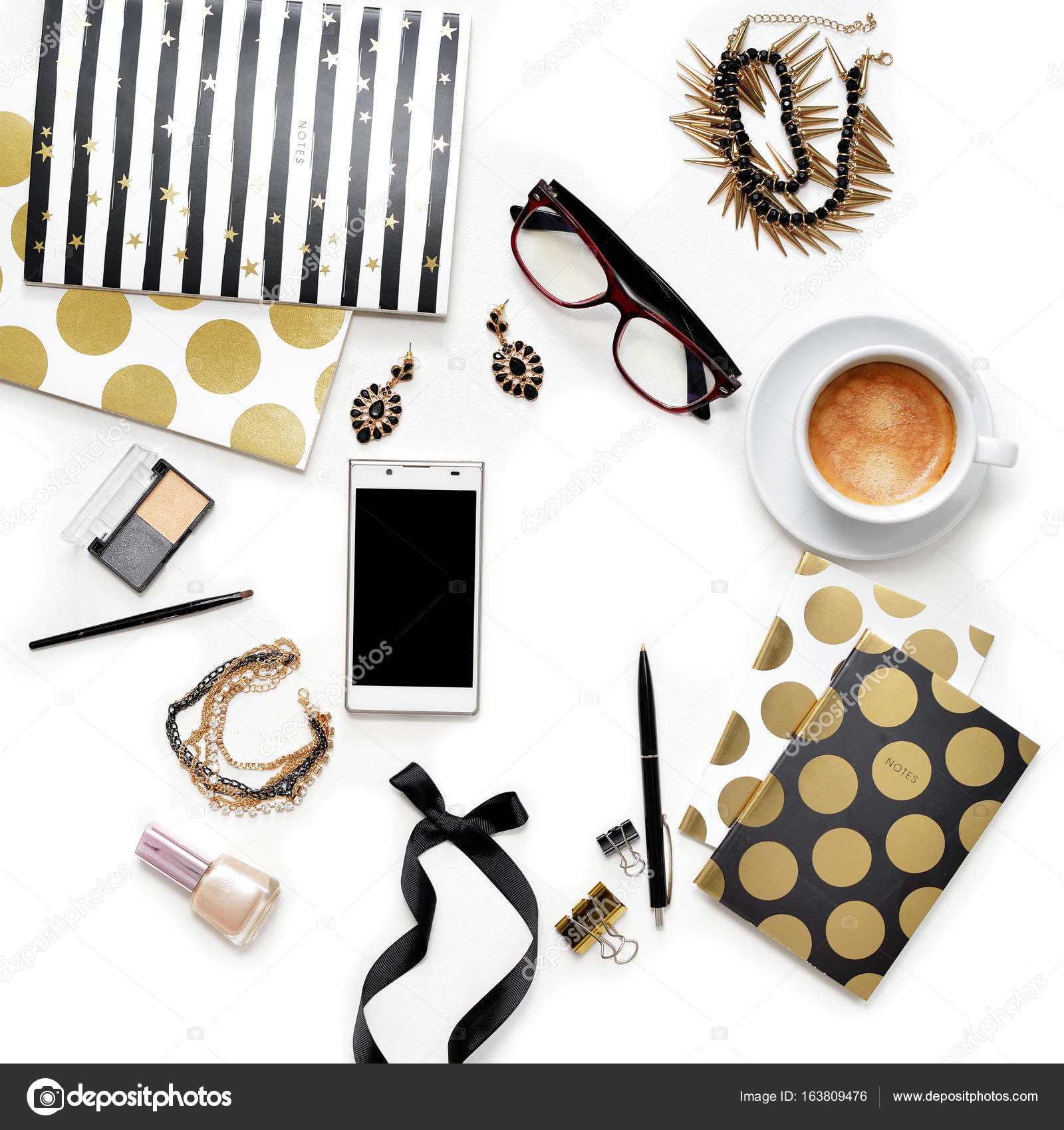 lay fashion feminine home office workspace with phone, cup of coffee ...